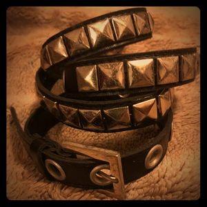 Accessories - Vintage Black Faux Leather Belt w/Silver Box Studs